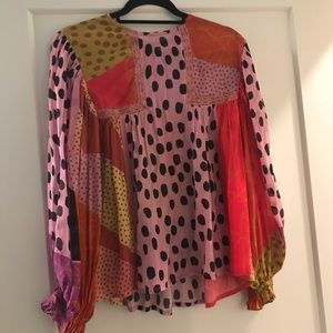 Anthropologie bl-nk eclectic peasant blouse
